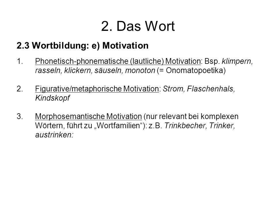 2. Das Wort 2.3 Wortbildung: e) Motivation