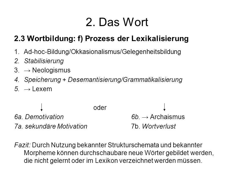 2. Das Wort 2.3 Wortbildung: f) Prozess der Lexikalisierung