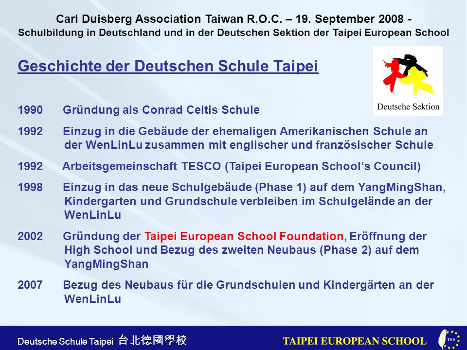 Geschichte der Deutschen Schule Taipei