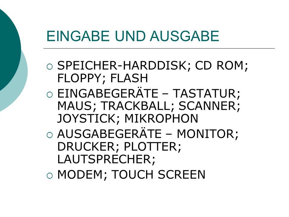 EINGABE UND AUSGABE SPEICHER-HARDDISK; CD ROM; FLOPPY; FLASH