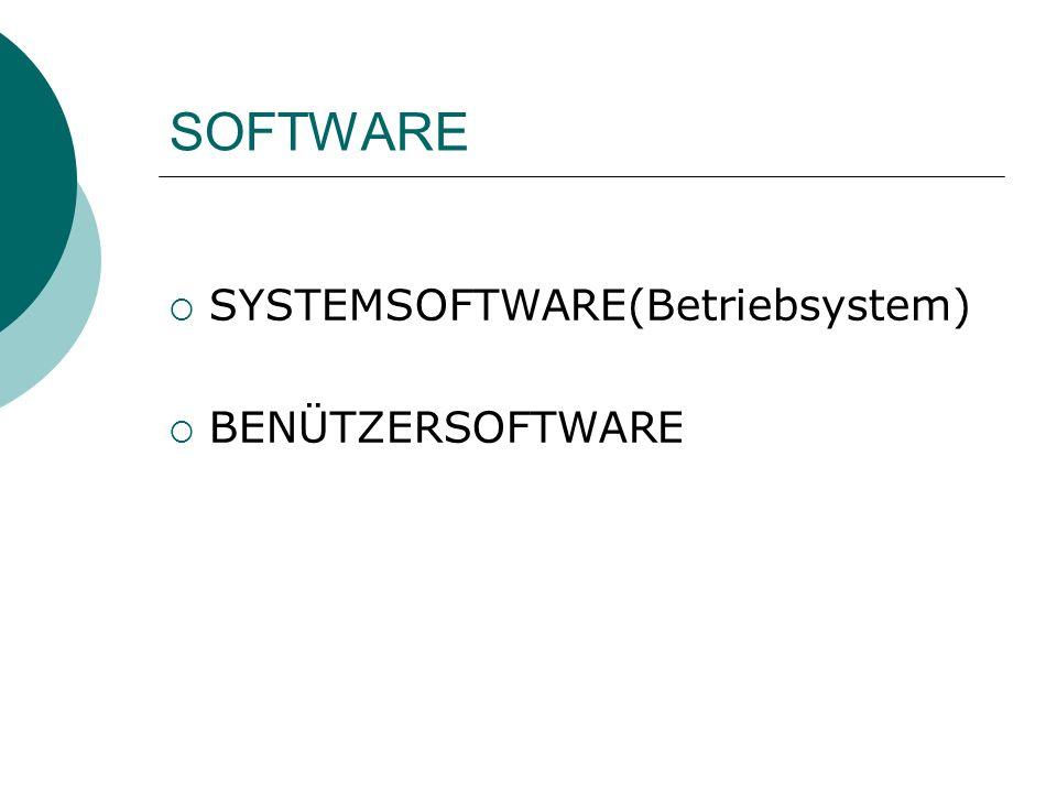 SOFTWARE SYSTEMSOFTWARE(Betriebsystem) BENÜTZERSOFTWARE