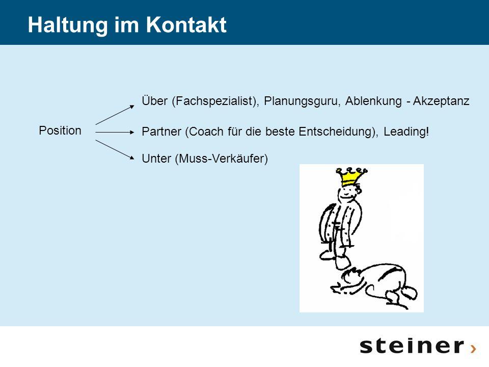 Haltung im Kontakt Über (Fachspezialist), Planungsguru, Ablenkung - Akzeptanz. Position. Partner (Coach für die beste Entscheidung), Leading!