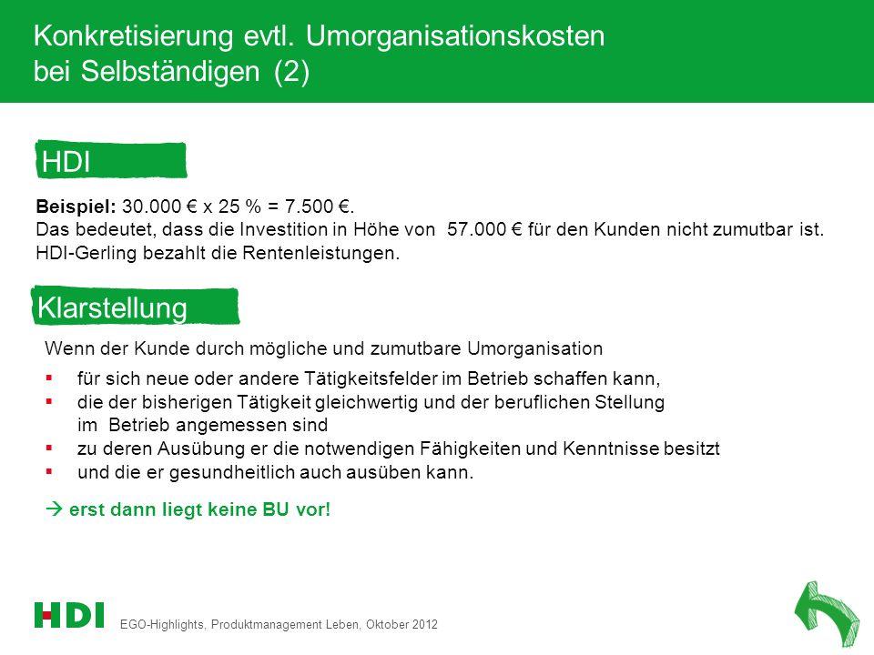 Konkretisierung evtl. Umorganisationskosten bei Selbständigen (2)