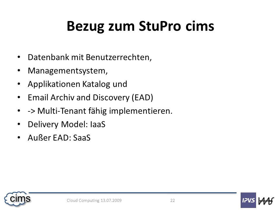 Bezug zum StuPro cims Datenbank mit Benutzerrechten, Managementsystem,
