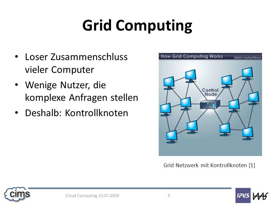 Grid Computing Loser Zusammenschluss vieler Computer