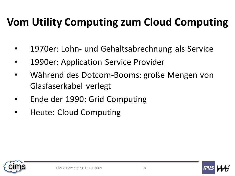 Vom Utility Computing zum Cloud Computing