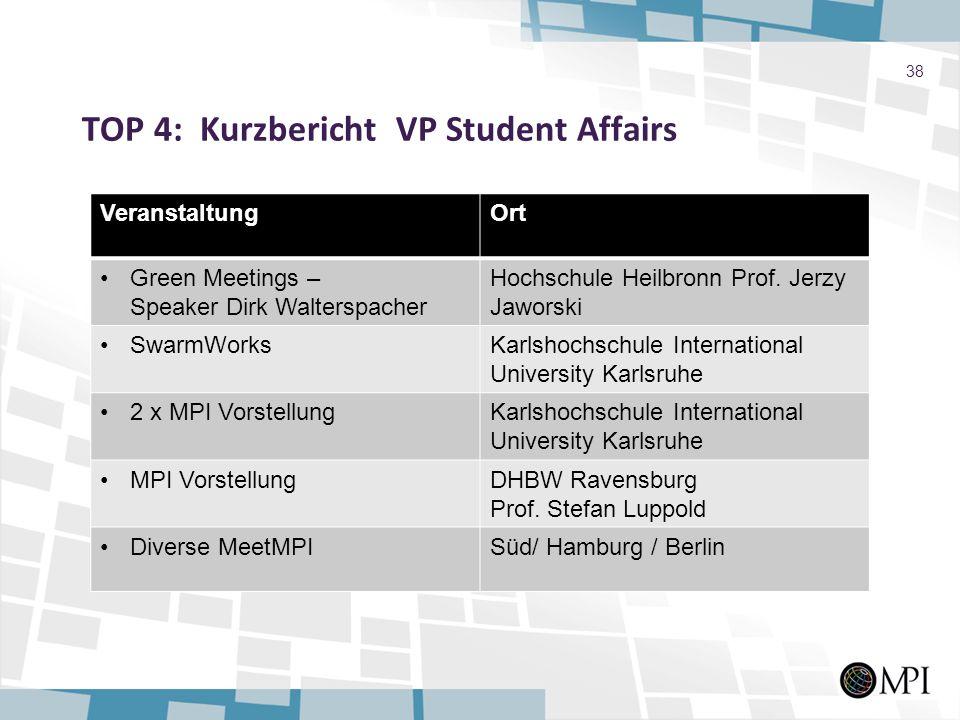 TOP 4: Kurzbericht VP Student Affairs