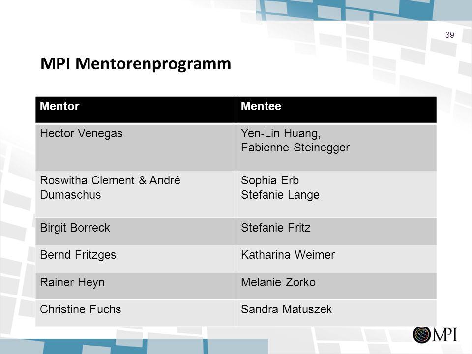 MPI Mentorenprogramm Mentor Mentee Hector Venegas Yen‐Lin Huang,