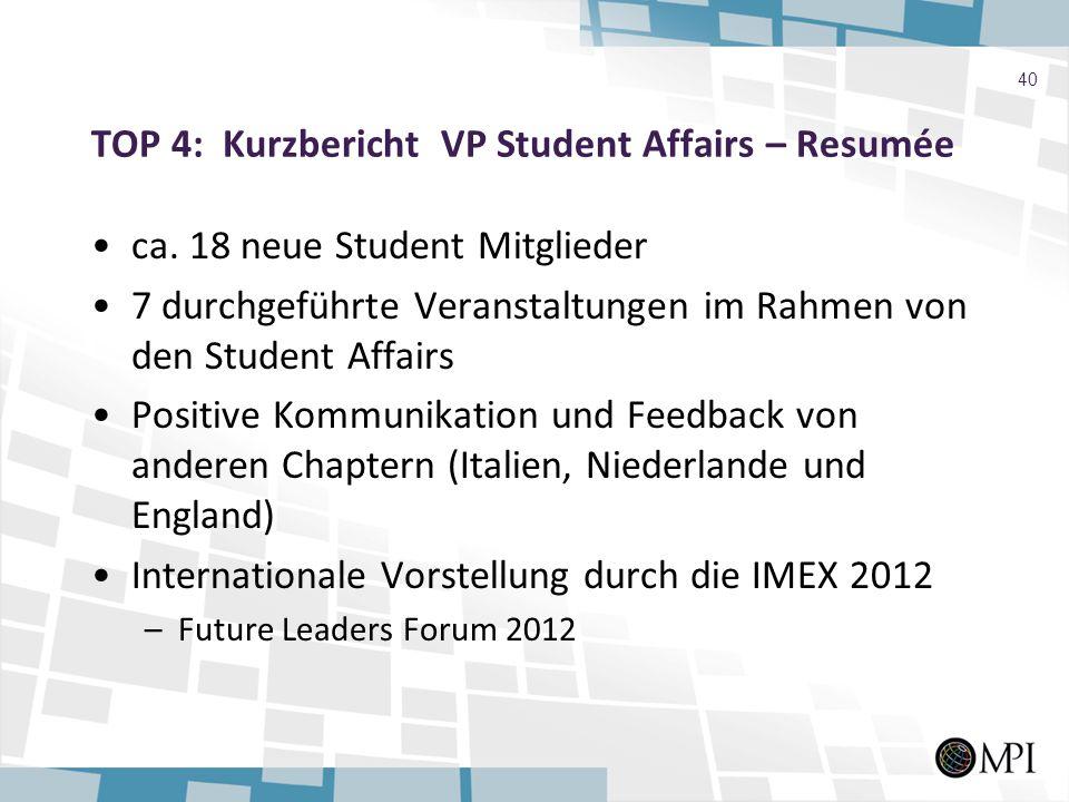 TOP 4: Kurzbericht VP Student Affairs – Resumée