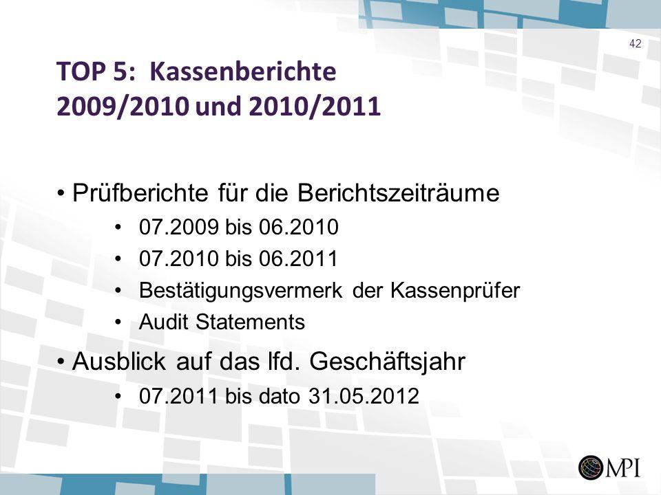 TOP 5: Kassenberichte 2009/2010 und 2010/2011