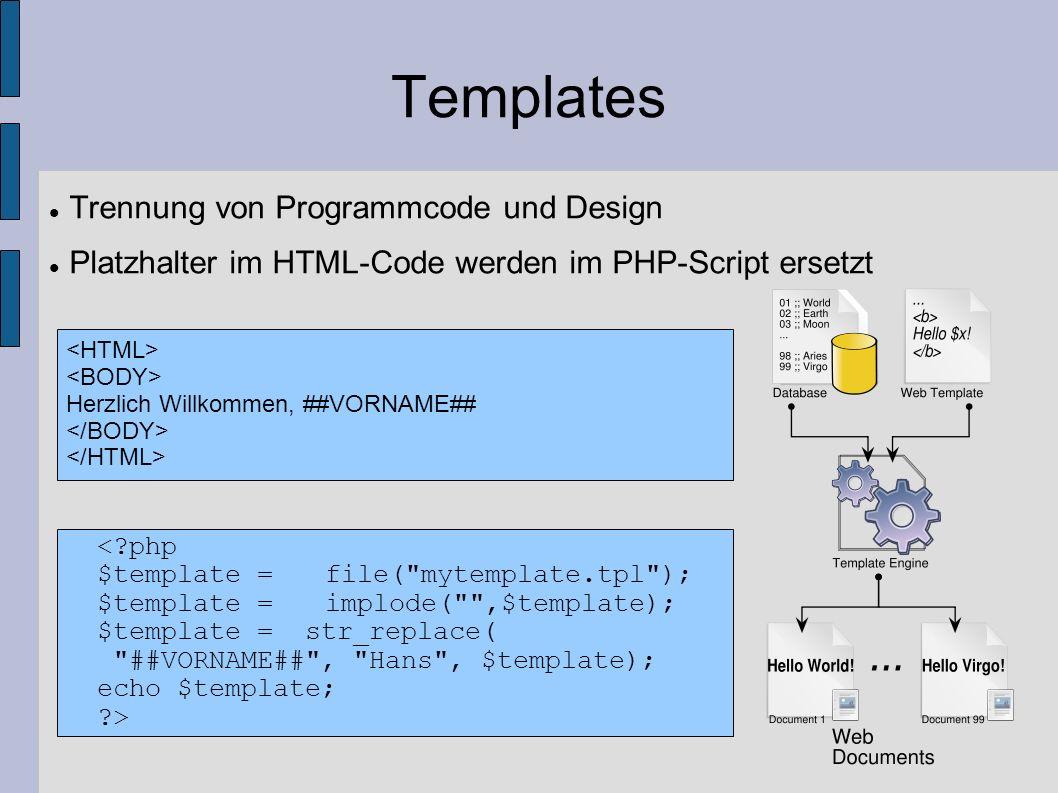 Templates Trennung von Programmcode und Design