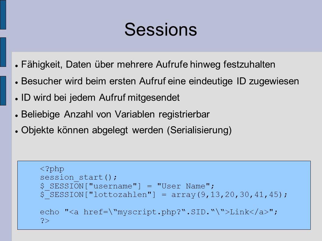 Sessions Fähigkeit, Daten über mehrere Aufrufe hinweg festzuhalten