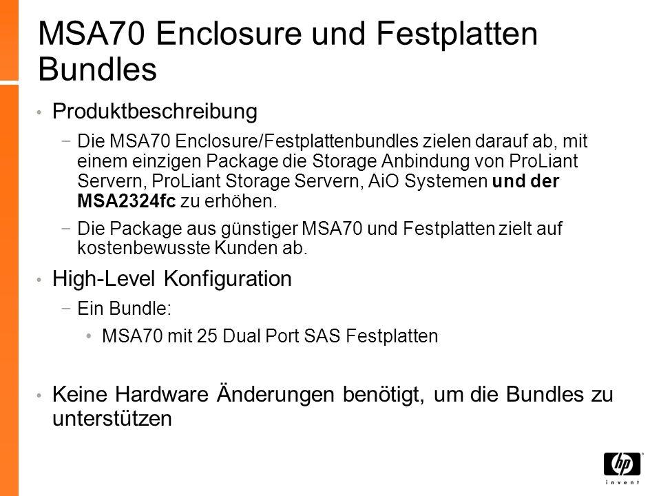 MSA70 Enclosure und Festplatten Bundles