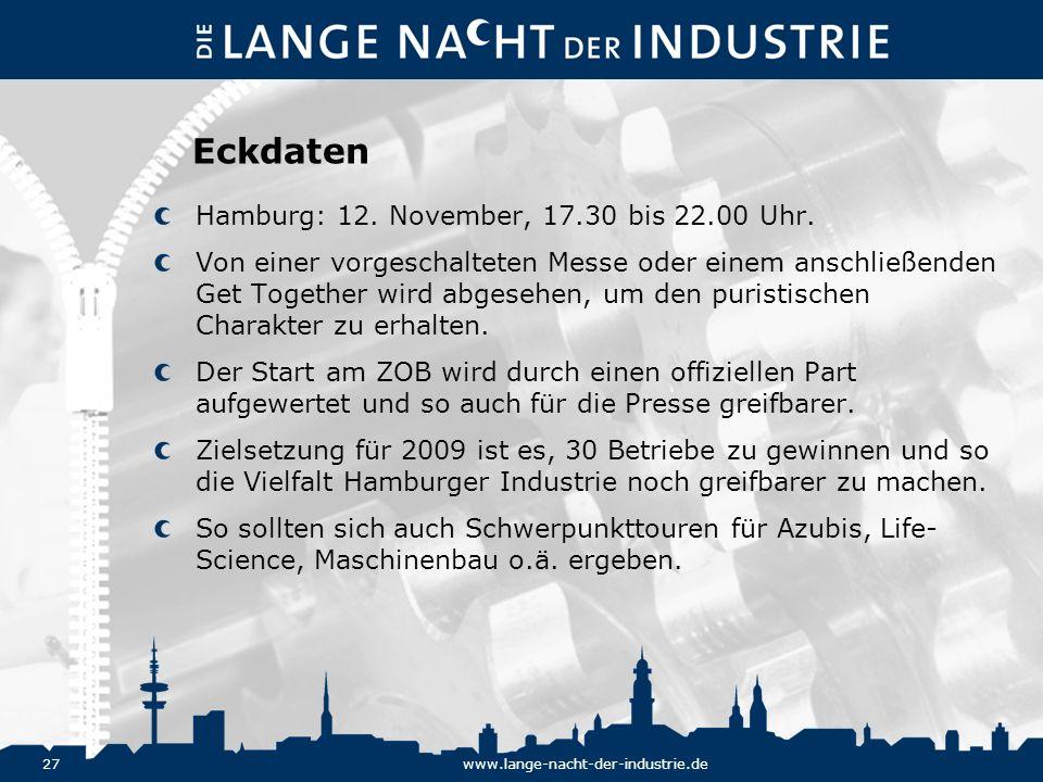 Eckdaten Hamburg: 12. November, 17.30 bis 22.00 Uhr.