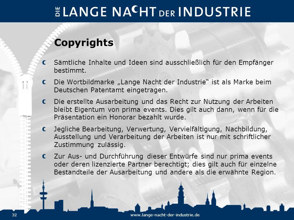 Copyrights Sämtliche Inhalte und Ideen sind ausschließlich für den Empfänger bestimmt.