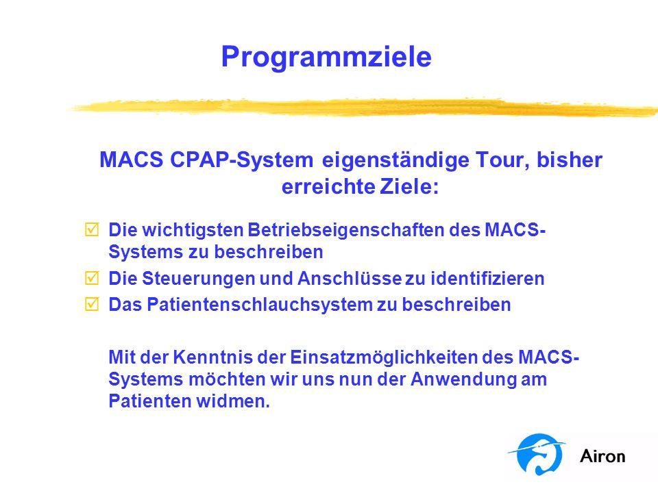 MACS CPAP-System eigenständige Tour, bisher erreichte Ziele: