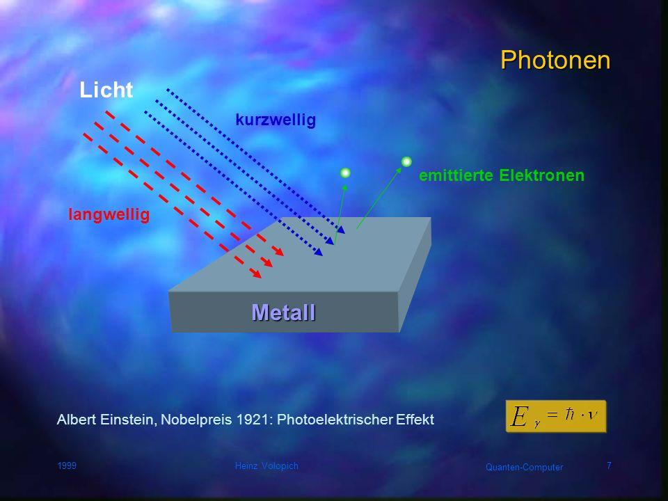 Photonen Licht Metall kurzwellig emittierte Elektronen langwellig