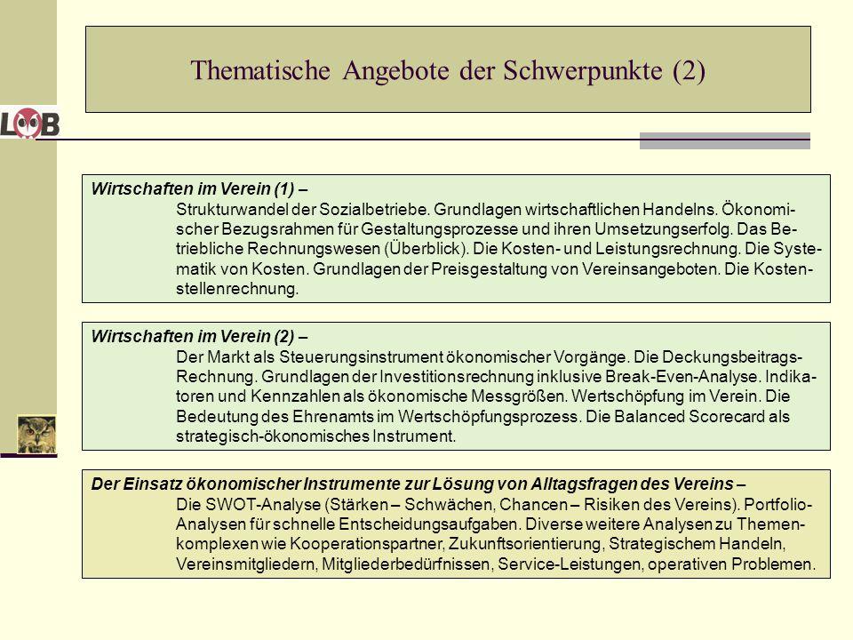 Thematische Angebote der Schwerpunkte (2)