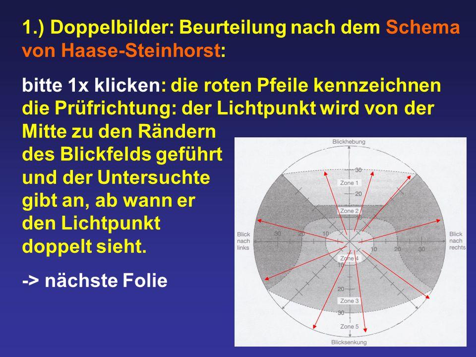1.) Doppelbilder: Beurteilung nach dem Schema von Haase-Steinhorst: