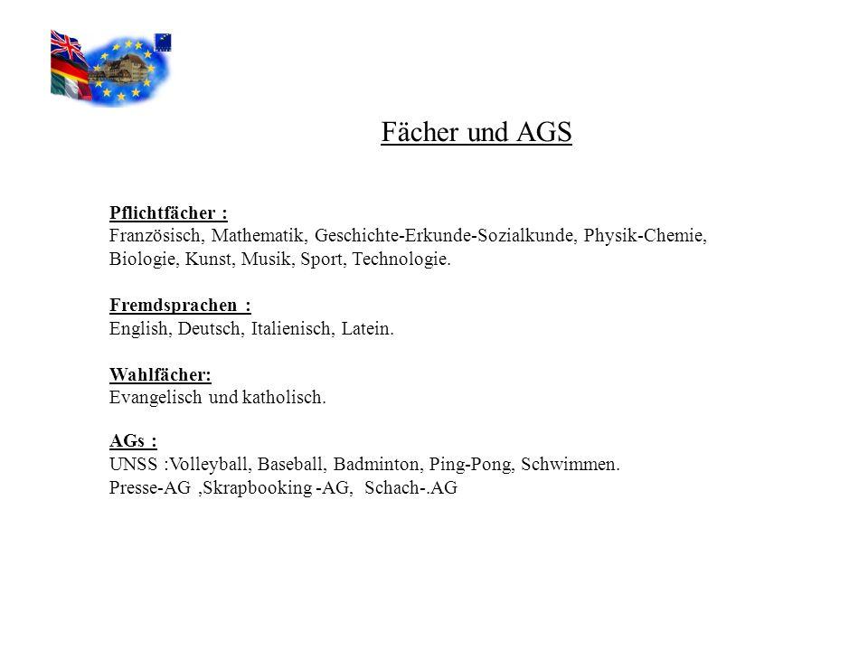 Fächer und AGS Pflichtfächer :