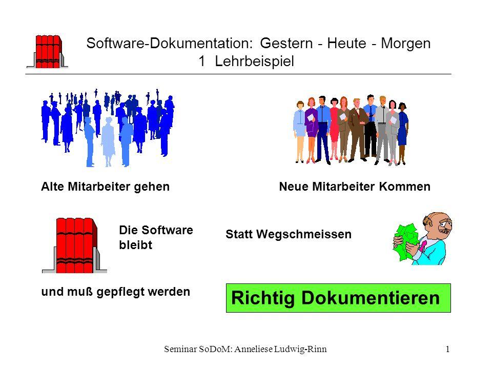 Software-Dokumentation: Gestern - Heute - Morgen 1 Lehrbeispiel
