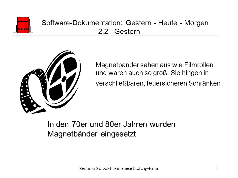 Software-Dokumentation: Gestern - Heute - Morgen 2.2 Gestern