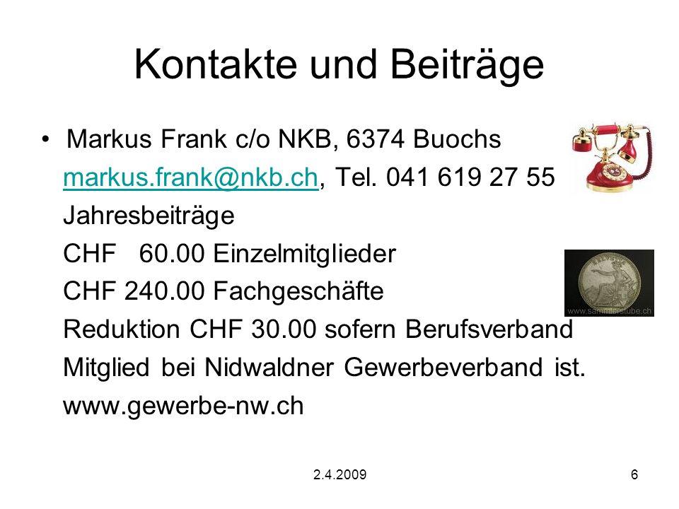 Kontakte und Beiträge Markus Frank c/o NKB, 6374 Buochs