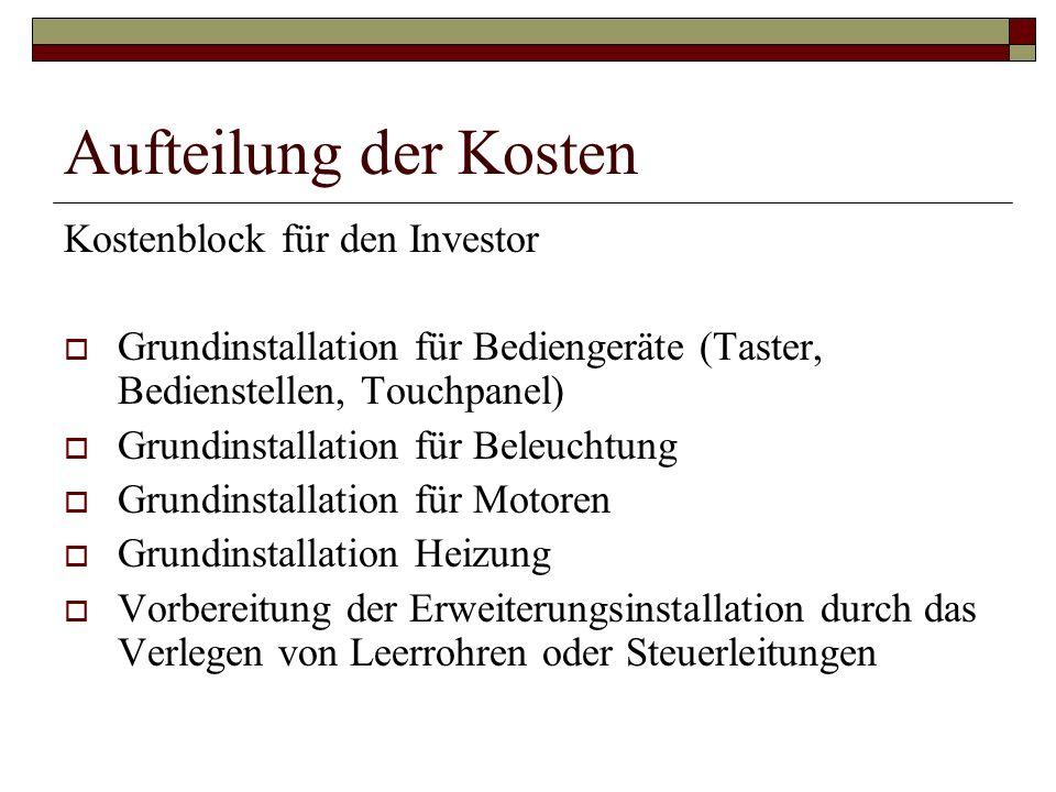 Aufteilung der Kosten Kostenblock für den Investor
