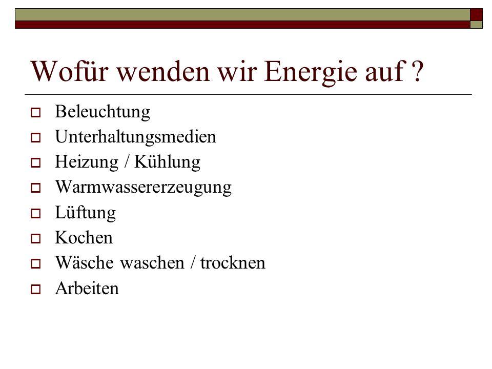 Wofür wenden wir Energie auf