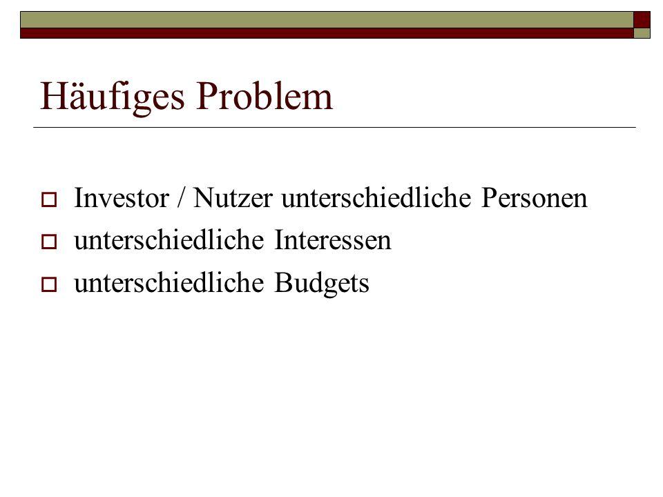 Häufiges Problem Investor / Nutzer unterschiedliche Personen