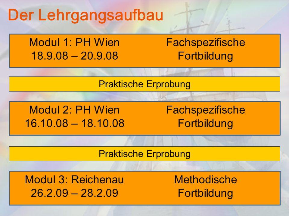 Der Lehrgangsaufbau Modul 1: PH Wien 18.9.08 – 20.9.08