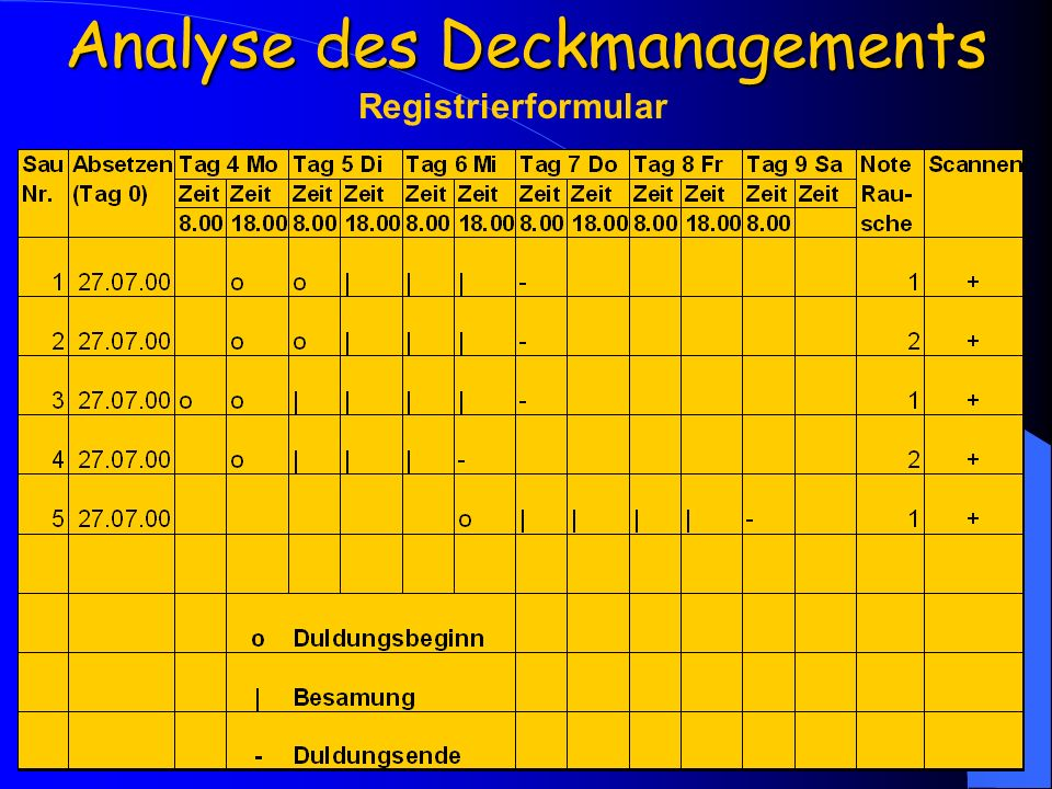 Analyse des Deckmanagements