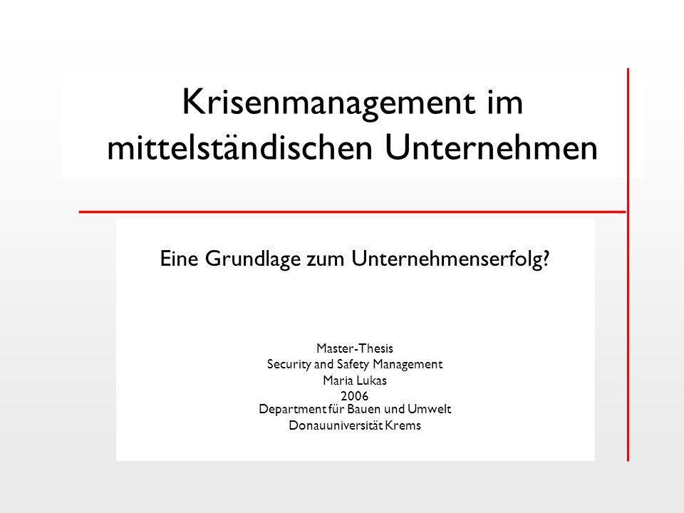 Krisenmanagement im mittelständischen Unternehmen __________________________