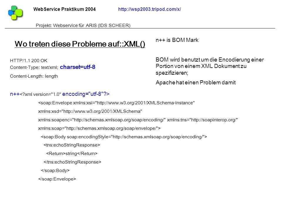 Wo treten diese Probleme auf::XML()