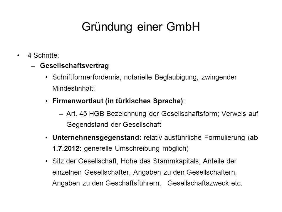 Gründung einer GmbH 4 Schritte: Gesellschaftsvertrag