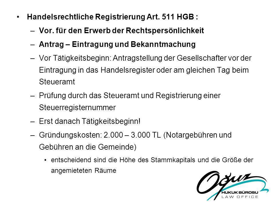 Handelsrechtliche Registrierung Art. 511 HGB :