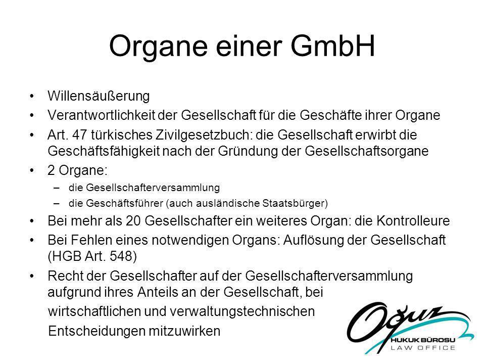 Organe einer GmbH Willensäußerung