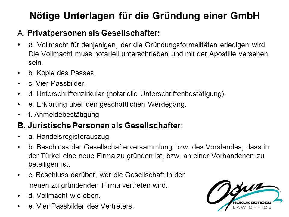 Nötige Unterlagen für die Gründung einer GmbH