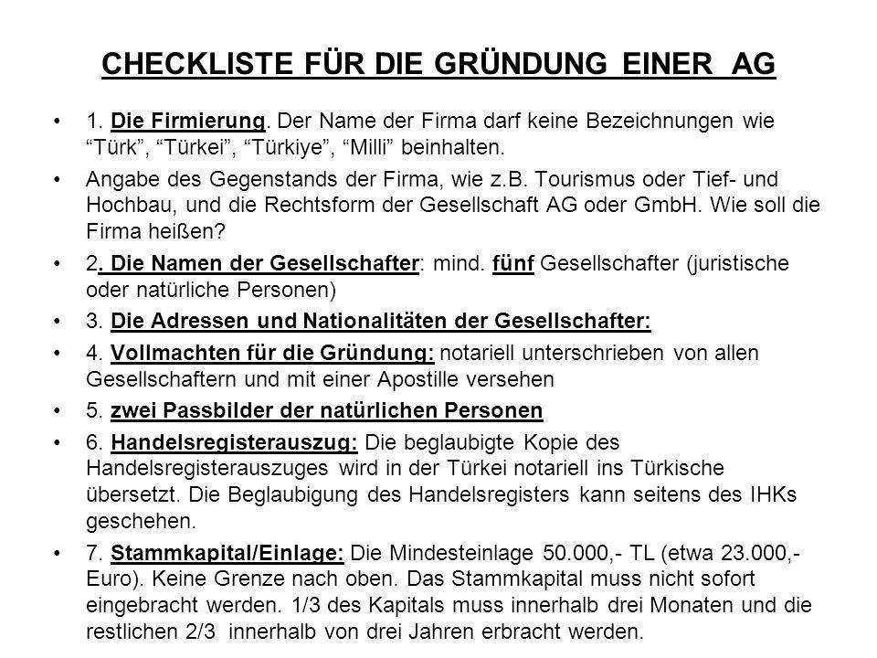 CHECKLISTE FÜR DIE GRÜNDUNG EINER AG