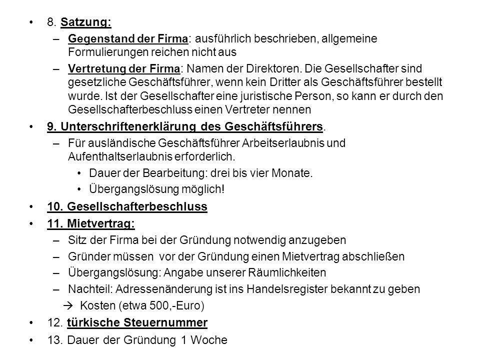 9. Unterschriftenerklärung des Geschäftsführers.