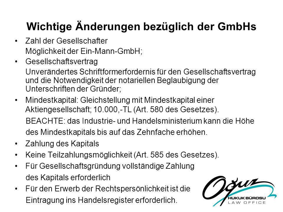 Wichtige Änderungen bezüglich der GmbHs