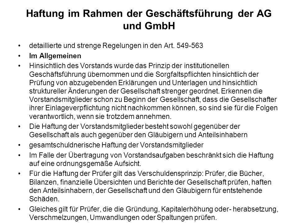 Haftung im Rahmen der Geschäftsführung der AG und GmbH