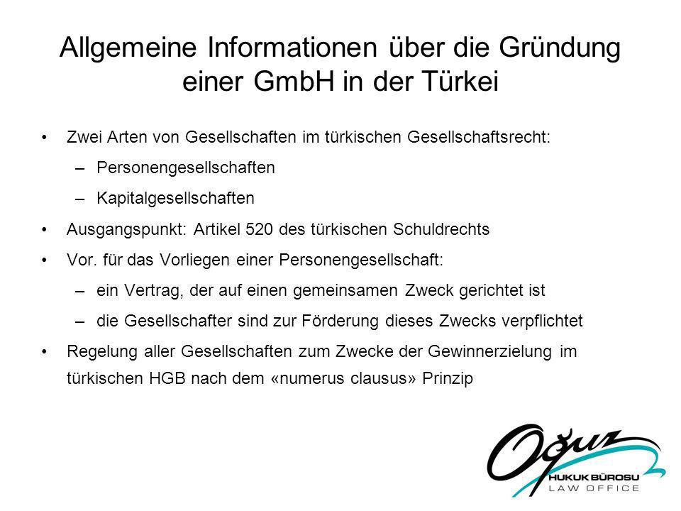 Allgemeine Informationen über die Gründung einer GmbH in der Türkei