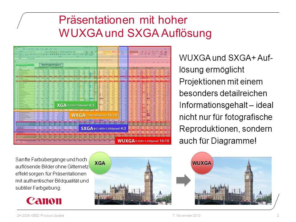 Präsentationen mit hoher WUXGA und SXGA Auflösung
