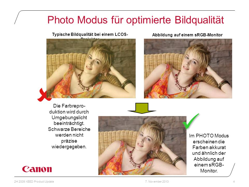 Photo Modus für optimierte Bildqualität