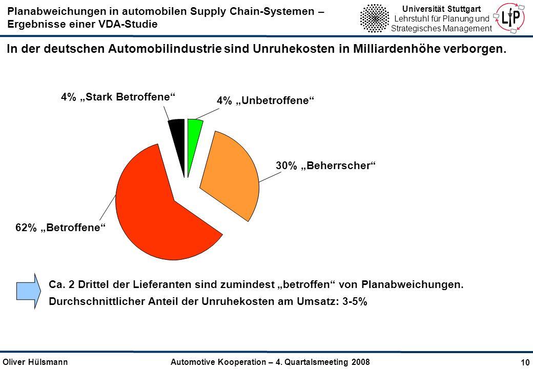 In der deutschen Automobilindustrie sind Unruhekosten in Milliardenhöhe verborgen.