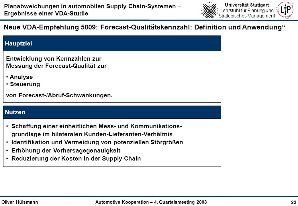 Neue VDA-Empfehlung 5009: Forecast-Qualitätskennzahl: Definition und Anwendung