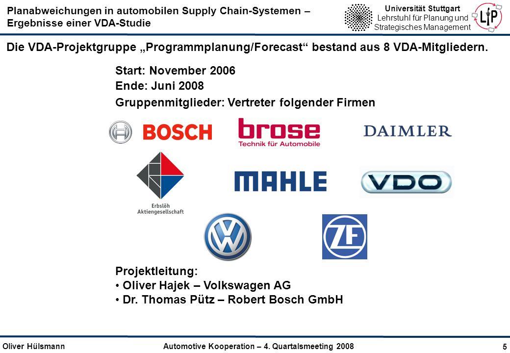 """Die VDA-Projektgruppe """"Programmplanung/Forecast bestand aus 8 VDA-Mitgliedern."""