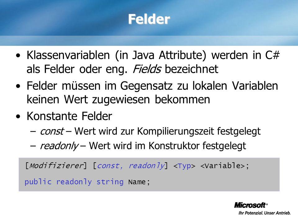 Felder Klassenvariablen (in Java Attribute) werden in C# als Felder oder eng. Fields bezeichnet.