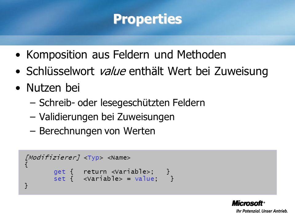 Properties Komposition aus Feldern und Methoden